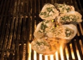 Char-grilled Oysters with Roquefort Cheese and Red Wine Vinaigrette