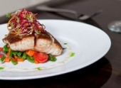 Grilled Gulf Catch with Roasted Vegetable Medley and Champagne Butter